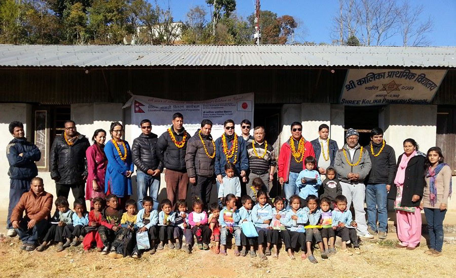 6_Group photo after the educational materials distribution at Shree Kailka Primary School