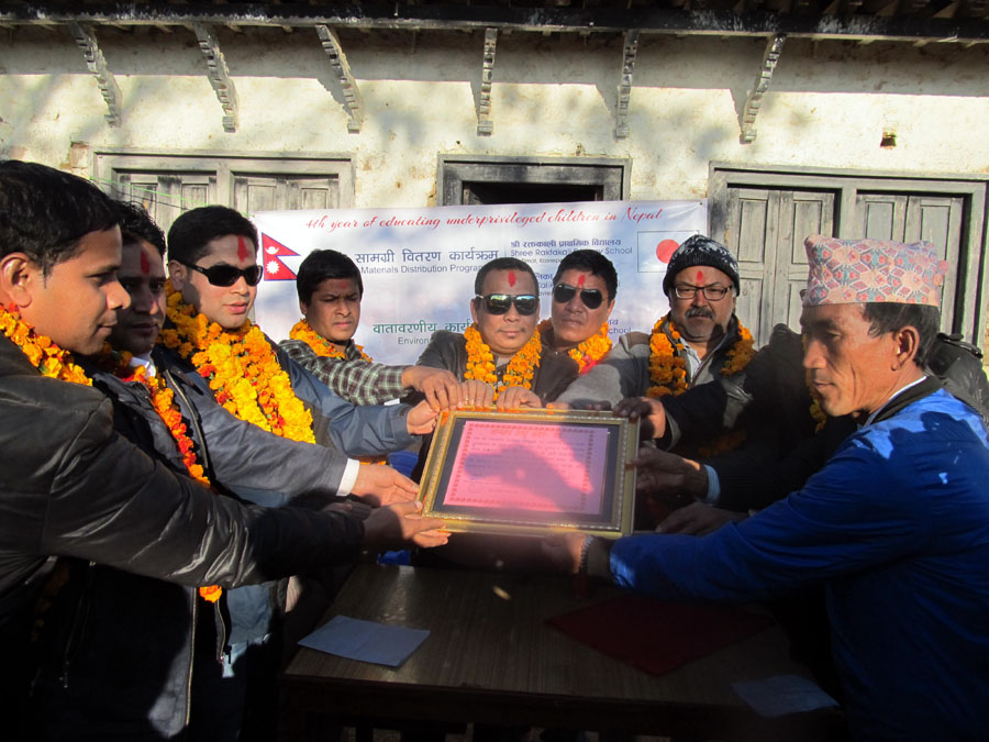 8_Principal Hira Kaji Tamang of Shree Raktkali is honouring Pax Earth with a letter of appreciation