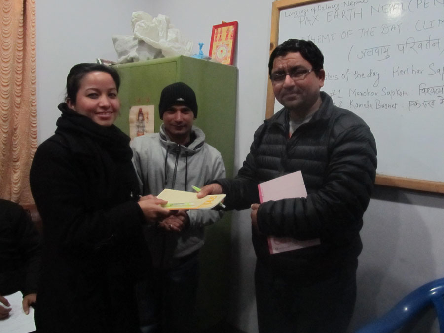 8_Best Manual speaker Kamala Basnet awarded by Evaluator Nilambar Badal
