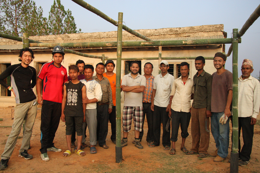 Group photo after finishing the structure of temporary school at Seti Devi