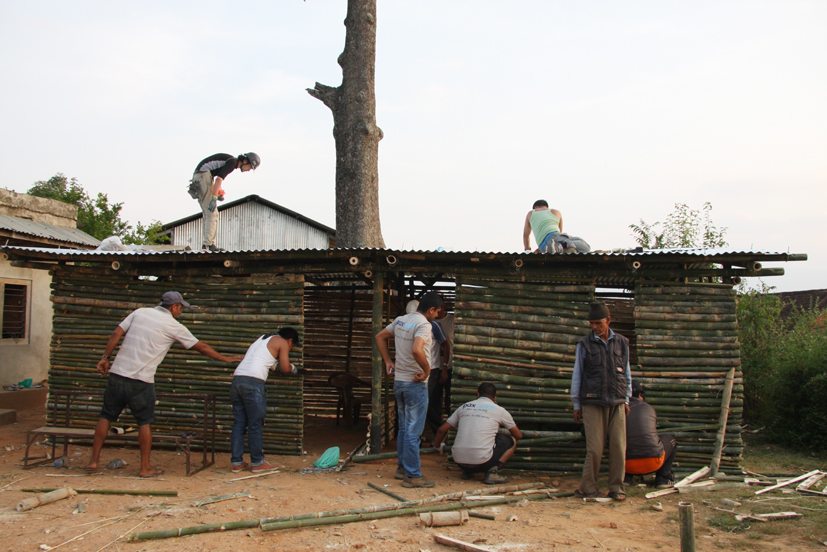 Construction of the temporary school at Shree Seti Devi