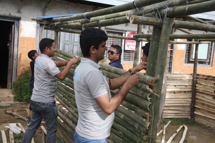 Construction of temporary school at Shree Ratkakali