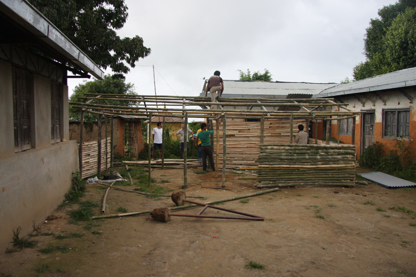 Construction of temporary rooms at Shree Raktakali School