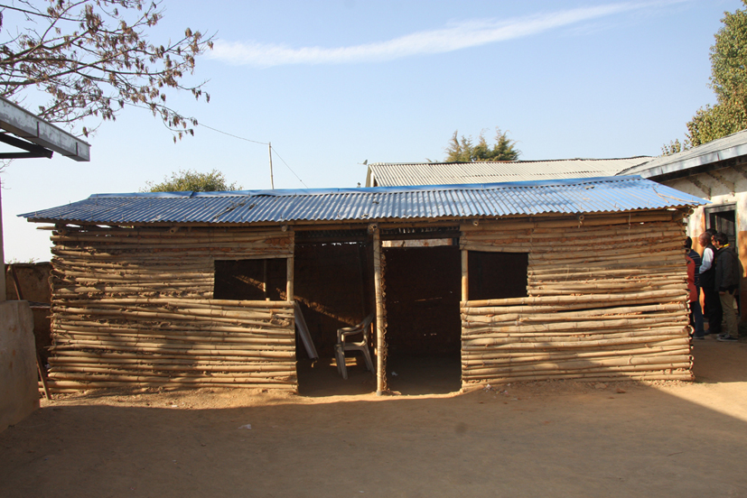 Temporary building at Shree Ratkakali after mud filling