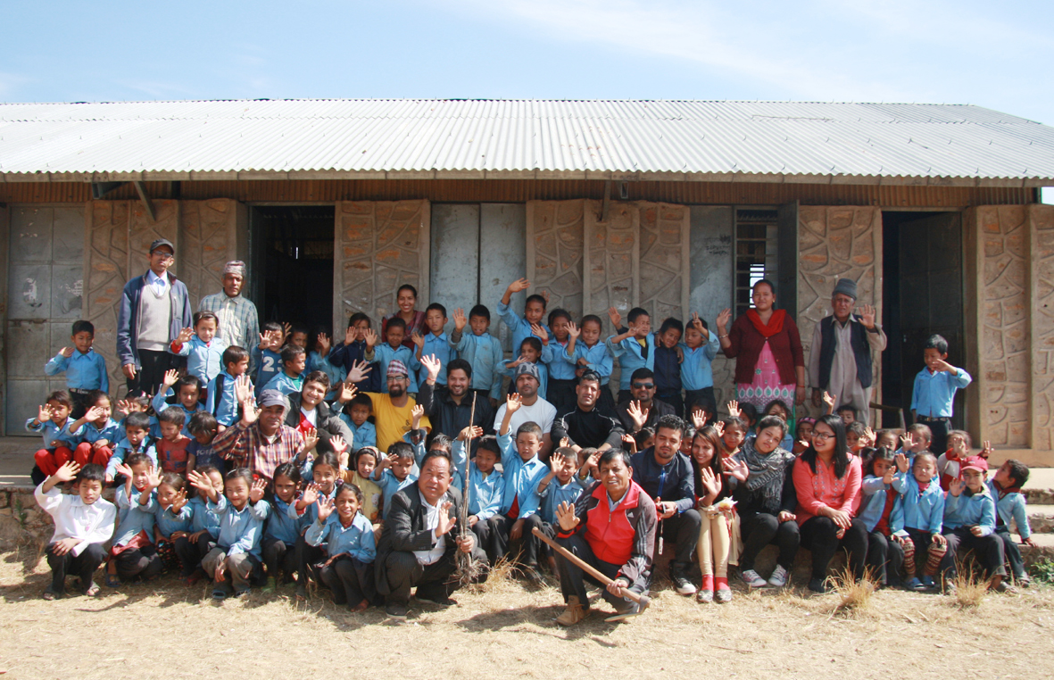 Group photo after distribution of educational and hygienic materials for earthquake affected students at Seti Devi school Feb 18