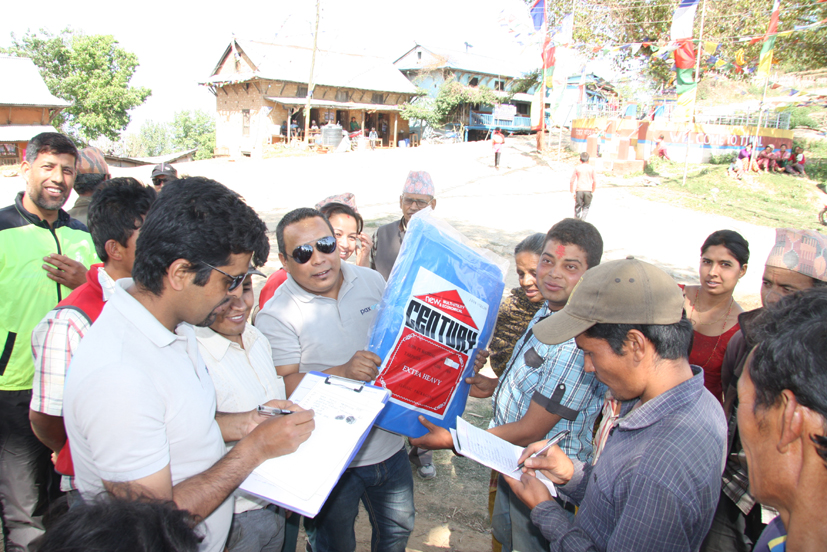 Tarpaulin tent distributed by Treasurer Bal Gopal Shrestha