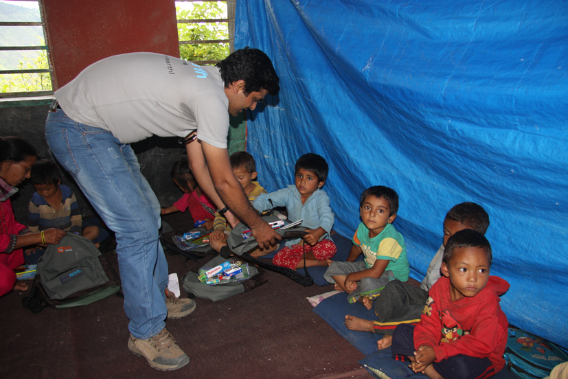 Educational materials distribution to earthquake affected student at Shree Seti Devi July 23